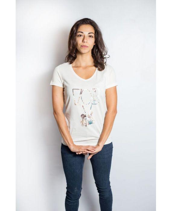 Ky-kas tee-shirt femme col V coton bio