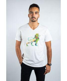 T-shirt bio vintage à col V